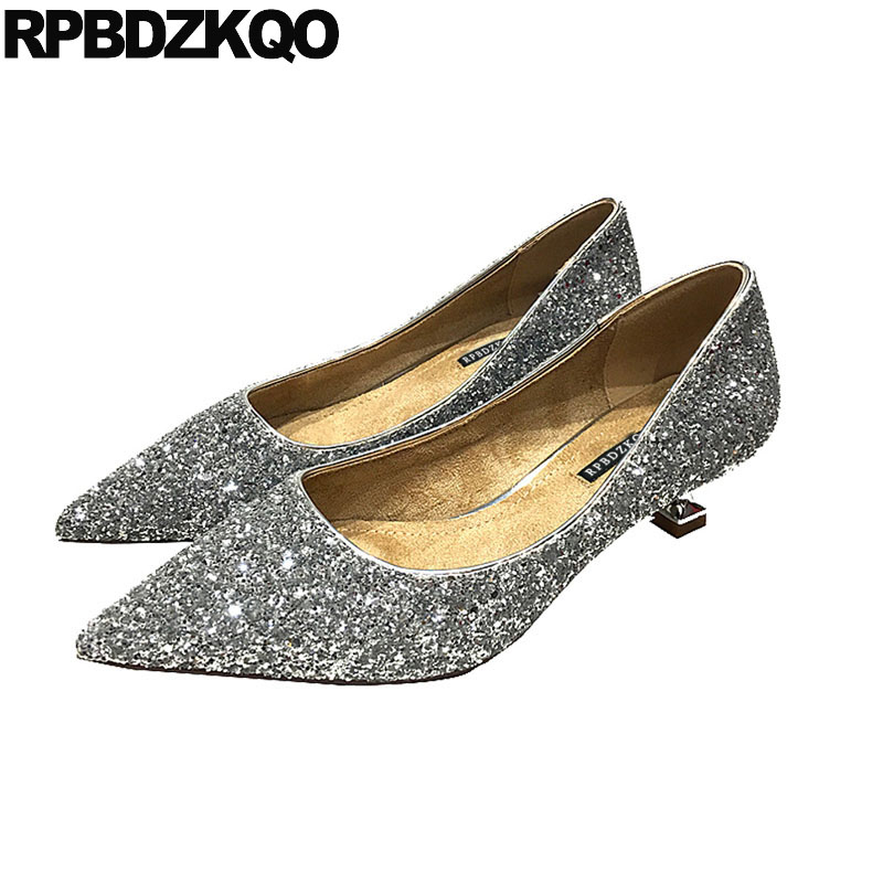9552c2f2a7b1 silver evening kitten bridal sparkling metal women medium heels prom shoes  2018 bling glitter sequin gun color dress pointed toe