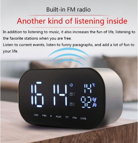 AZN bluetooth shower speaker mini portable computer speakers with alarm clock display fm radio bedroom speaker цена 2017