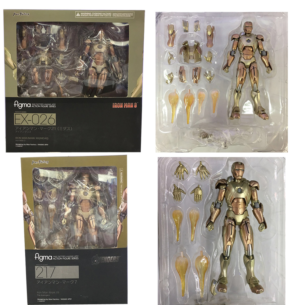 Iron Man 3 Figure Figma 217 / Figma EX-026 Iron Man Mark XXI (MIDAS) PVC Action Figures Collectible Model Toy marvel iron man mark 43 pvc action figure collectible model toy 7 18cm kt027