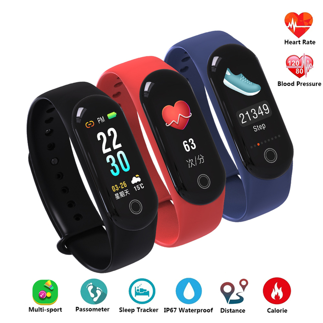 Smart Bracelet Band Fitness Bracelet Wristband Color Screen Heart Rate Tracker Blood Pressure PK Mi Band 3 Bracelet Smart Band