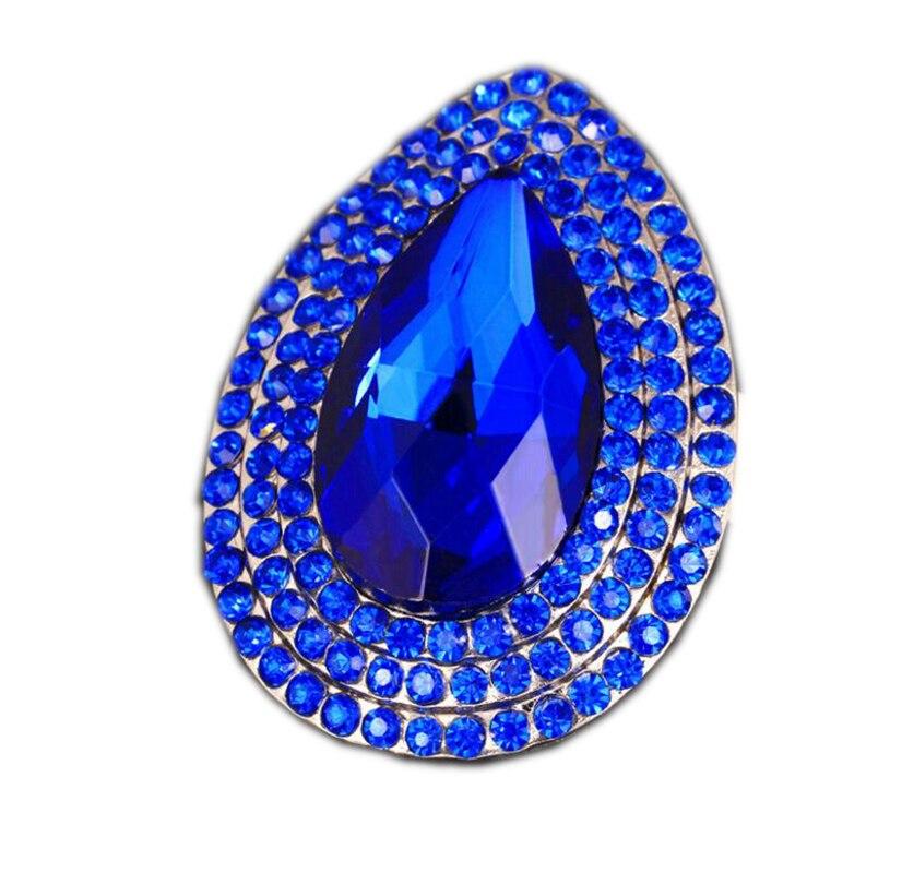 Винтажная Серебряная Королевская Синяя Хрустальная брошь в форме капли воды