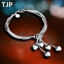 TJP Fashion 925 Silver Bracelets For Women Party 5 Frosted beads Girl Link Chain Bangles Jewelry  2018 Hot Sale Lady Bijou