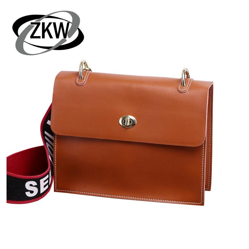 ce53bde7cfe9 ZKW последняя натуральная кожа женские сумки Пряжка одного плеча сумка сумки  простой корейская мода квадратный