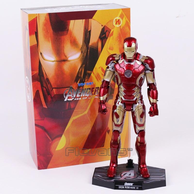 Hot Toys Iron Man Avengers Edad de Ultron Marca XLIII MK 43 con Luz LED PVC Figura de Acción de Colección Modelo de Juguete 30 cm