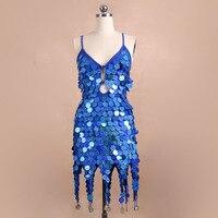 תחפושות תחרות ריקוד לטיני blingstory חדש בלינג נצנצים מכתף מצויץ dress נשים kr7004-4