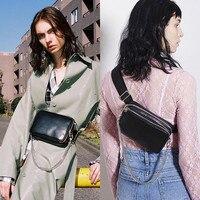 Mihaivina Women Waist Bag Leather Belt Bag Luxury Chain Shoulder Bags Fanny Pack Black Female Hip Hop Chest Bag Waist Pack