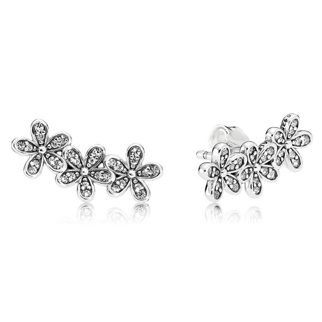 Trendy Authentic 925 Sterling Silver Pandora Earrings For Women Dazzling  Daisy Clusters Earring Studs Fine Europe Jewelry Gift