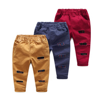 Hot Sale Children Boys Casual  Pants Hole Yarn Card Water washing  Kids All Cotton Trousers 3 Color Clothes