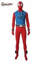 Cosplaydiy superhero Scarlet Spider Cosplay Spider Men Jumpsuit Costume Blue Vest Suits Halloween Party Clothing BodySuit