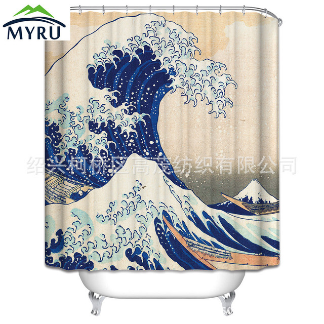 Japan Style Sea Wave Pattern Digital Printing Shower Curtain Polyester Waterproof Bathroom 180x180cm