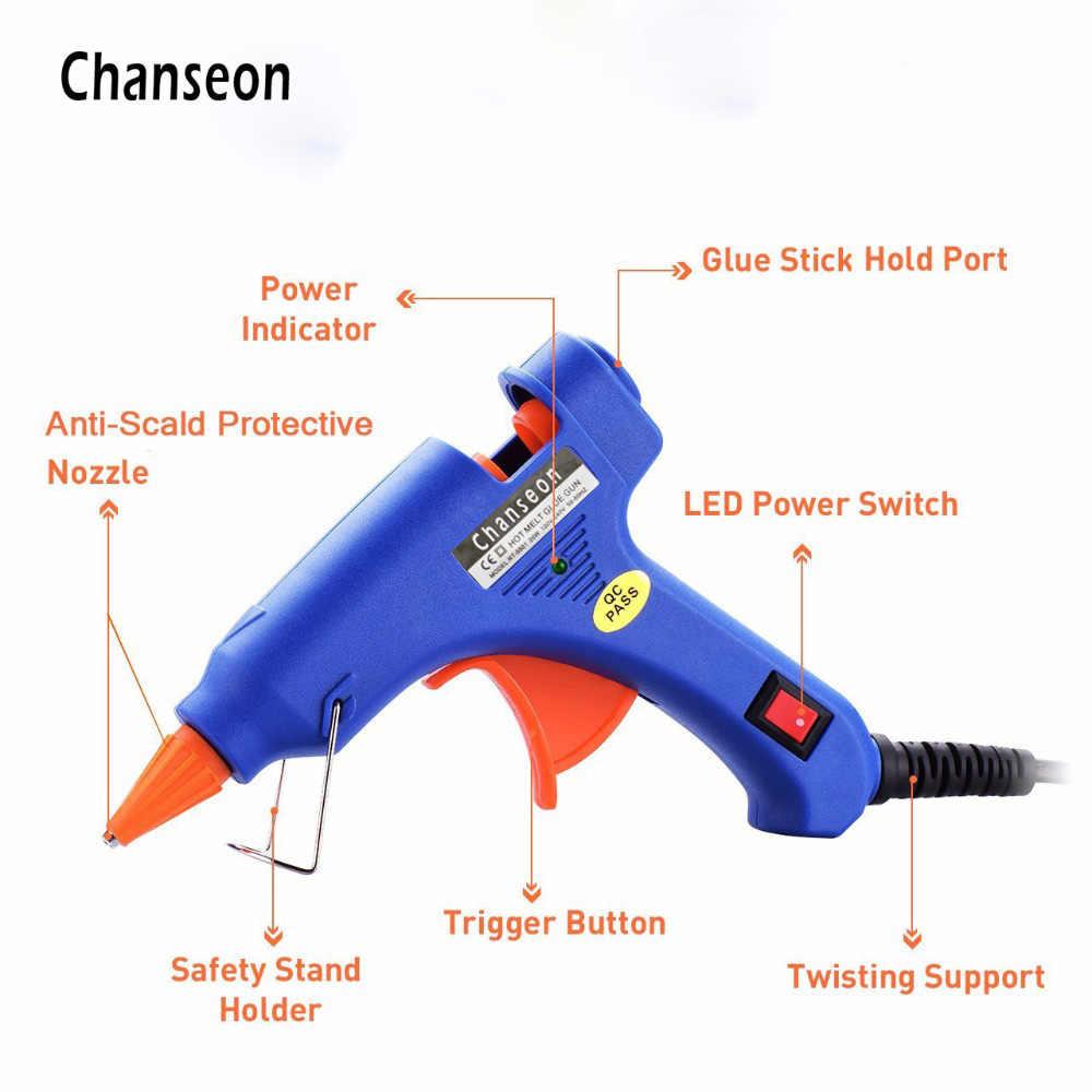 Chanseon 20 วัตต์ EU/US Hot Melt กาวปืน 20 ชิ้น 7 มิลลิเมตรกาวกาวอุตสาหกรรมมินิปืน thermo ไฟฟ้าเครื่องมือ