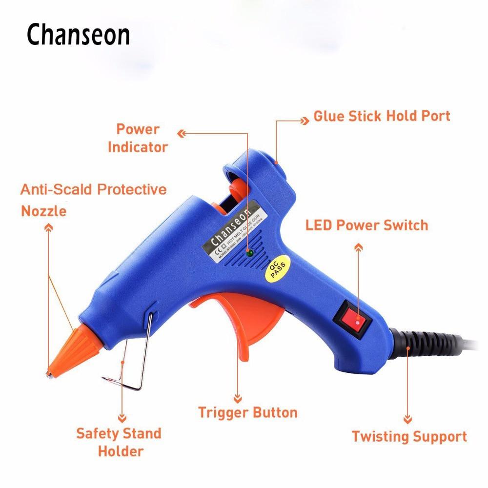 Hot Sell Melt Glue Gun with 20pc 7mm Glue Stick Industrial Mini Gun Thermo
