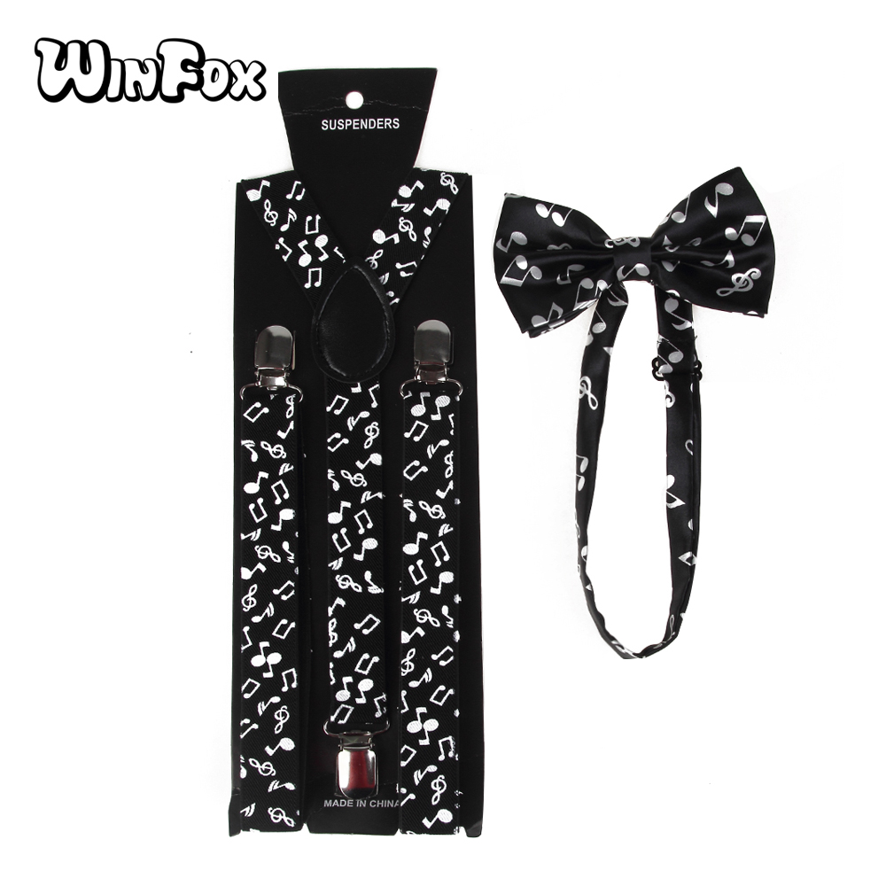 Winfox New Fashion Black White Music Note Suspenders And Bow Tie Set For Women Men