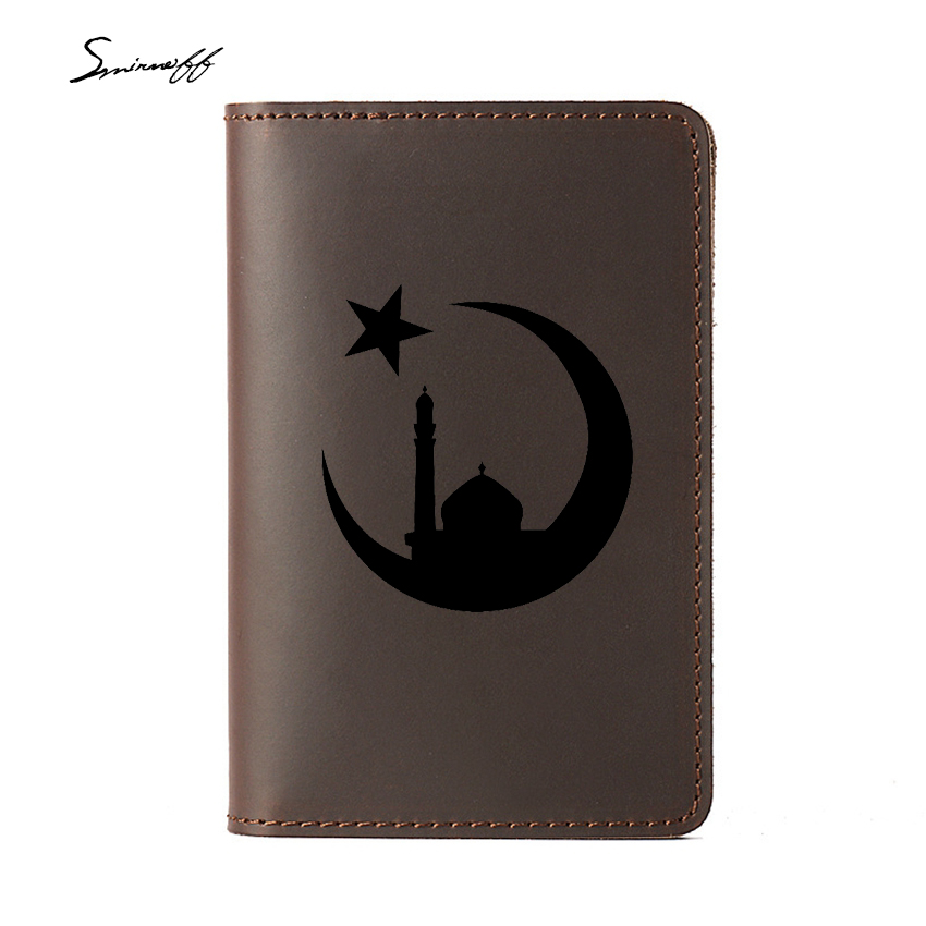 Card-Holders Engraving-Name Travel Islam Multi-Function Genuine-Leather Mosque Muslim