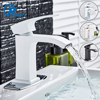 POIQIHY White Basin Faucet Multi Color Deck Mounted Basin Bathroom Sink Faucet Single Handle Hole Crane Cold Hot Water Mixer Tap
