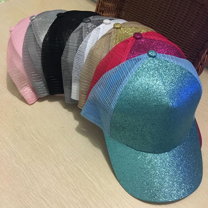 39054f62b07 Dropshipping Glitter Ponytail Baseball Snapback Cap Dad Hats for Women Caps  Messy Bun Cotton Sports Mesh Trucker Hat