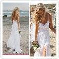 2015 Vintage White Beach dress Boho Wedding Dresses Gowns Chiffon Dreamy Spaghetti Straps Lace bridal gown