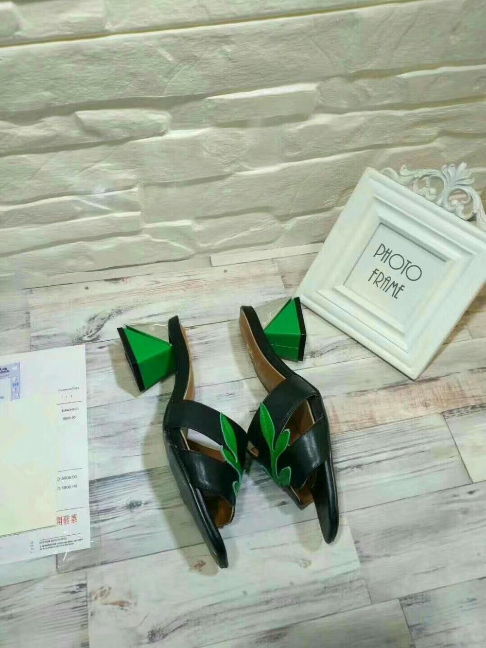 Mixte Bout Show Talon Vert Double As Feuille Sandales Supérieure Véritable D'été Chaussures Show Chunky Pantoufles Couleur Femmes Carré En as Cuir Dame PZqpw1