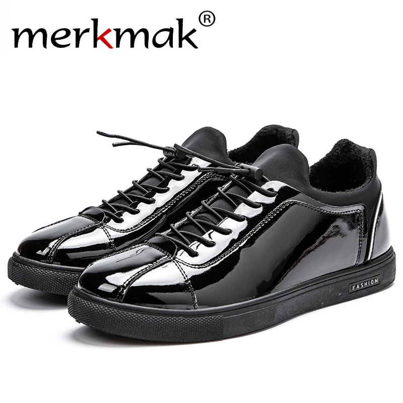 Merkmak  Hombres Zapatos de Moda Británica Estudiantes Stylel Brillante Mate Neg