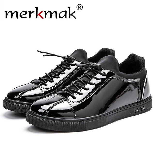 Merkmak 2016 Men Shoes Fashion British Stylel Bright Matte Black Students Men Design Sapatos Masculinos Comfortable Flats Shoes