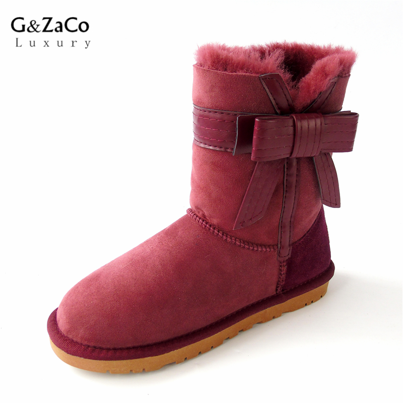 G&Zaco Luxury Brand Winter Sheepskin Snow Boots Female Bow Sweet Natural Wool Warm Princess Mid Calf Leather sheep fur Boots fashion hot winter hand embroidery flowers women snow mid calf boots sheep wool high qualit flats street style beauty boots 26