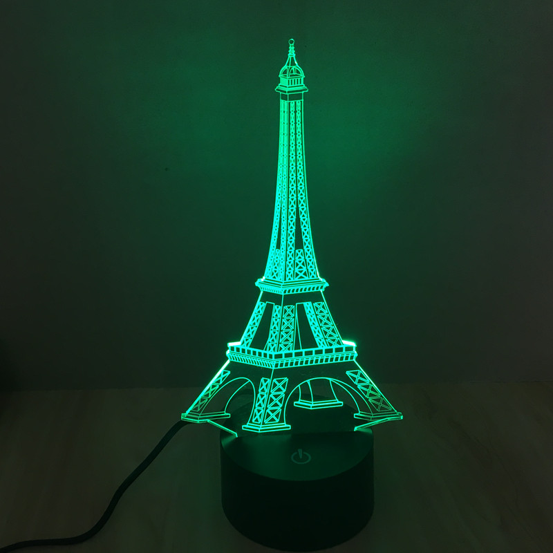 Colorful Eiffel Tower 3D lamp creative vision stereo lamp LED lamp night  light touch switch gradient - Online Get Cheap Eiffel Tower Lamps -Aliexpress.com Alibaba Group