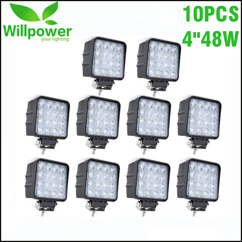 Square Flood Beam 10 PCS IP67 Waterproof Spot Beam Offroad Truck 4x4 Led Driving Light 48w Led Work Light 12v 24v Car Accessory