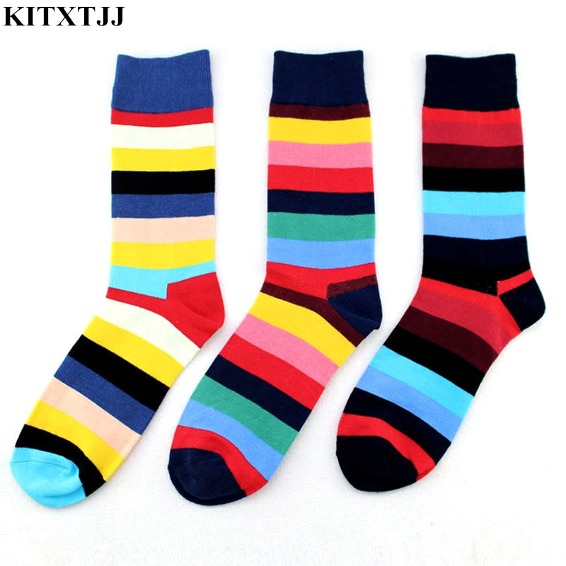 New Fashion Men Socks Rainbow Stripes Pattern Novelty Hip Hop Brand Crew Sock Happy Skate Dress Meias Calcetines Sox Wholesale