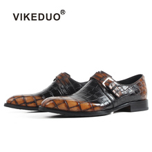 Vikeduo New Mens Crocodile Leather Shoes Classic Plaid Male Formal Dress Shoe Brand Handmade Wedding Office Footwear Zapatos