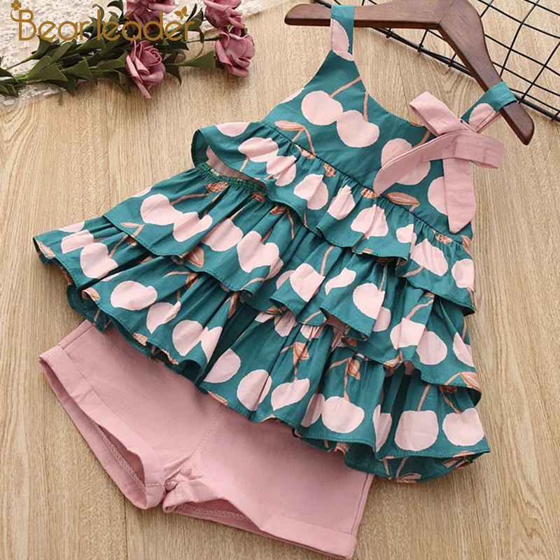 Bear Leader Girls Clothing Sets 2019 New Summer Girls Clothes Sleeveless T-shirt+Shorts 2Pcs Kids Clothing Sets For 3-7 Years(China)