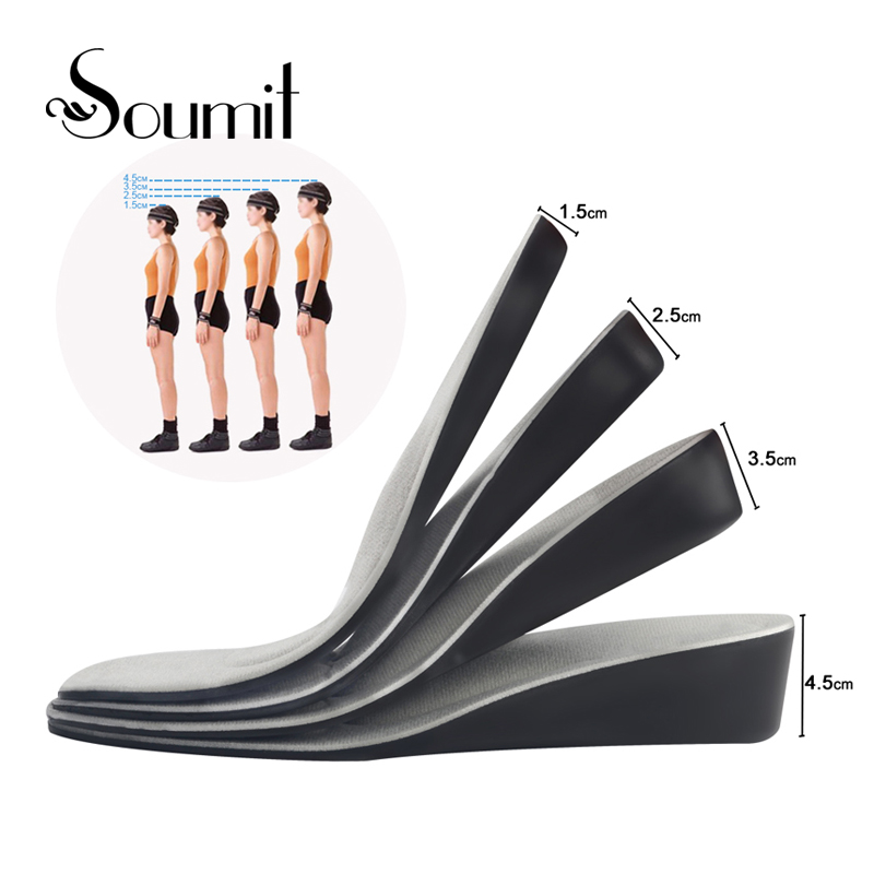 Soumit Invisible Height Increase Shock Absorbing Insert Sports Shoes Insoles for Men Women Arch Support Lift Taller Pads Insoles soumit pu invisible height increase insole for men women shoes inserts arch support lift taller increasing shoe insole pad soles