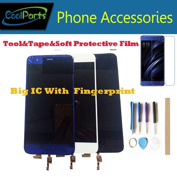 1PC/Lot For Xiaomi MI 6 MI6 Xiaomi 6 LCD Display+Touch Screen Digitizer With Fingerprint Black White Blue Color With Kits1PC/Lot For Xiaomi MI 6 MI6 Xiaomi 6 LCD Display+Touch Screen Digitizer With Fingerprint Black White Blue Color With Kits