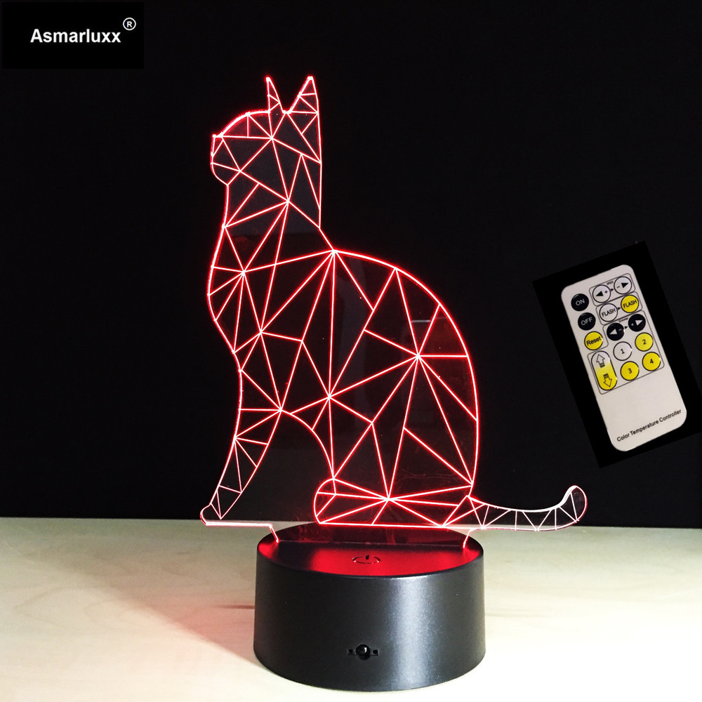 Lovely Cat 3D Night Light Animal Lamp Remote/Touch Swithc LED 7 Colors LED USB 3D Illusion Lamp For Home Decor As Kids Toy Gift
