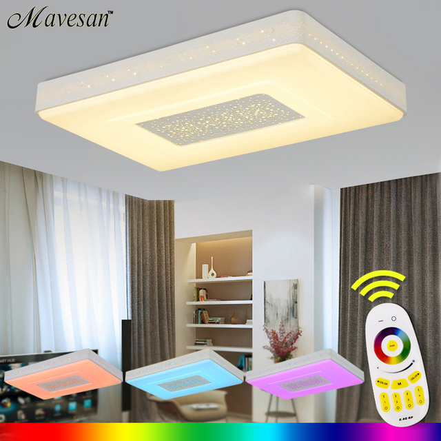 Aliexpress buy led sitting room ceiling lights roundsquare led sitting room ceiling lights roundsquarerectangle with remote controlled dimmable color changing mozeypictures Choice Image