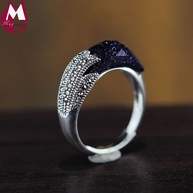 Rings classic cut blue sandstone phoenix tail design 100% sterling thai silver 925 jewelry gemstone anniversary gift RR99