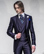 Popular Style One Button Navy Blue Groom Tuxedos Groomsmen Men's Wedding Prom Suits Bridegroom (Jacket+Pants+Vest) K:1121
