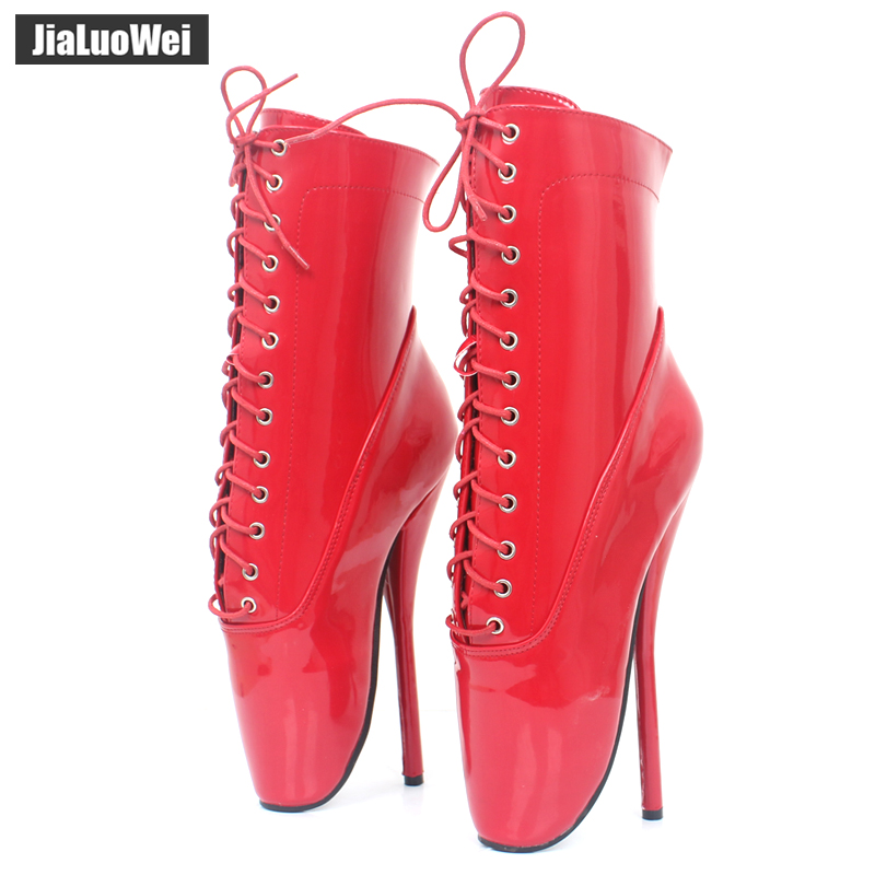 jialuowei Extreme 18cm/7 High Spike Heels Exotic Fetish Sexy shiny patent Pointed Toe Lace up Ankle BALLET Boots plus size jialuowei extreme high heel 18cm 7 hoof heel ballet short boot sexy fetish curved heels patent leather lace up ankle boots