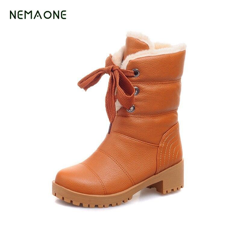 NEMAONE 2017 NEW Snow Boots For Women Flat Heel Women Winter Boots Waterproof Women Winter Shoes Waterproof