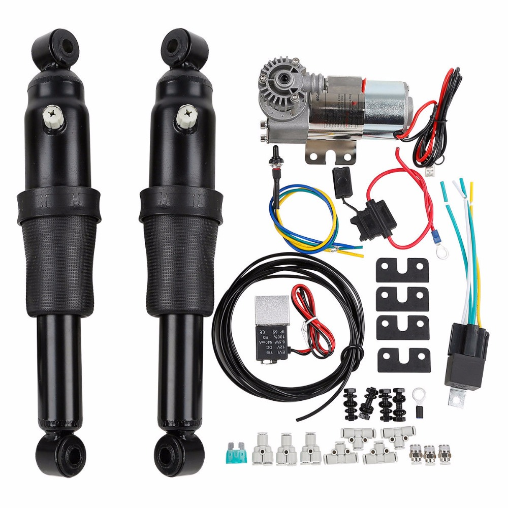 Motorcycle Adjustable Rear Air Ride Suspension Kit For Harley Touring Road King Bagger Electra Street Tour Glide 1994-2018