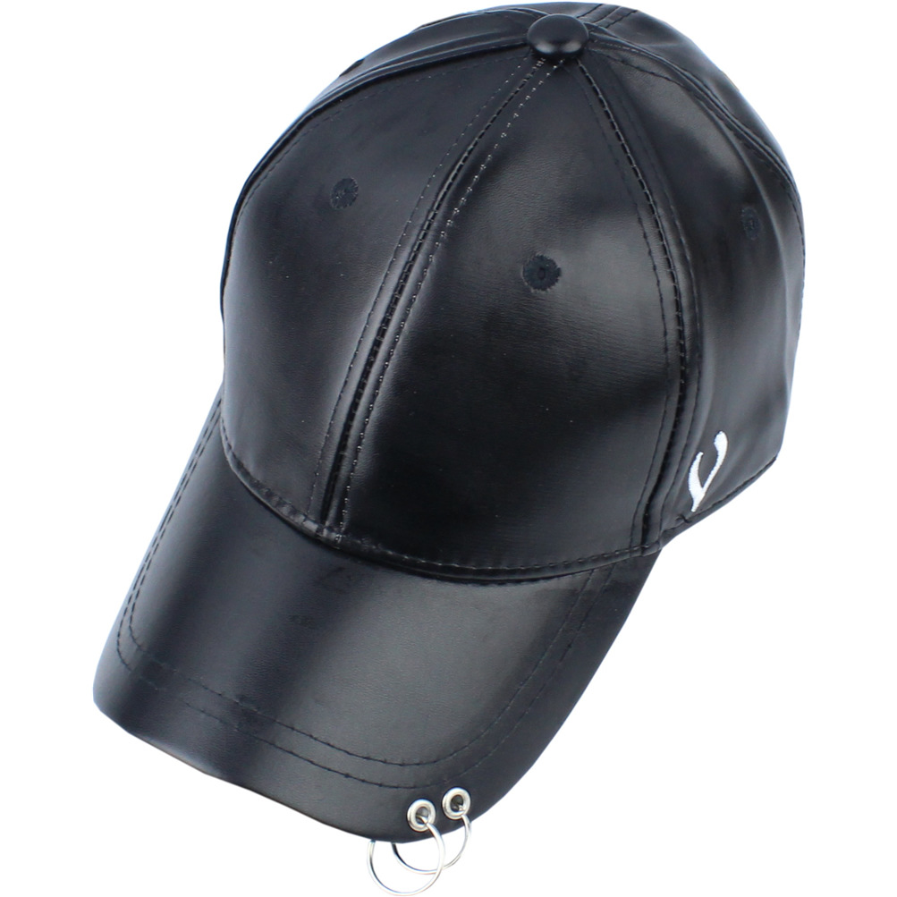 New snapback winter warm leather fashion personality caps couples men and women hat iron hoop hip-hop baseball cap peaked cap hl083 new new fashion men s scrub genuine leather baseball winter warm baseball hat cap 2colors