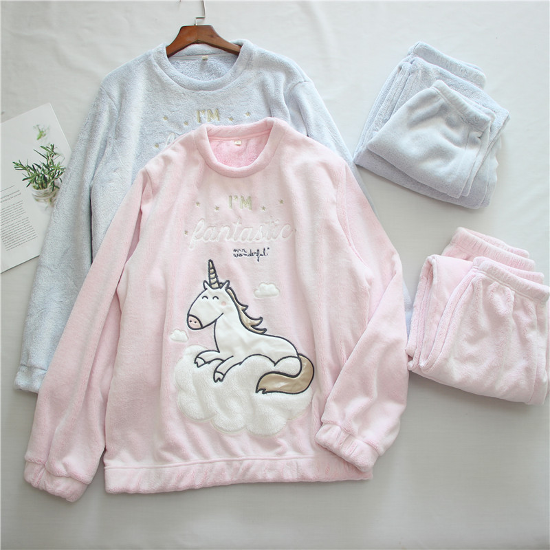 Winter Thick Warm   Pajama     Sets   For Women Cartoon Unicorn Horse Flannel Cute Girl Animals Long Sleeve Sleepwear Home Wear Suits
