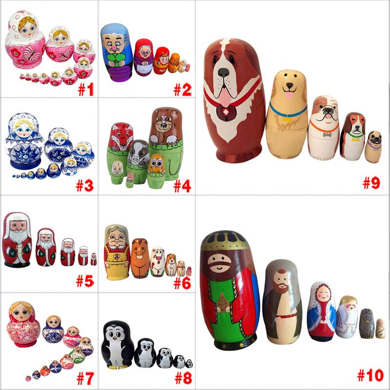 New Style Baby Toy Nesting Dolls Wooden Matryoshka Set Russian Dolls Hand Painted Home Decoration Birthday Gifts Happybuy M09 jennifer taylor home sofa bed hand tufted hand painted and hand rub finished wooden legs 65000 584 859 865