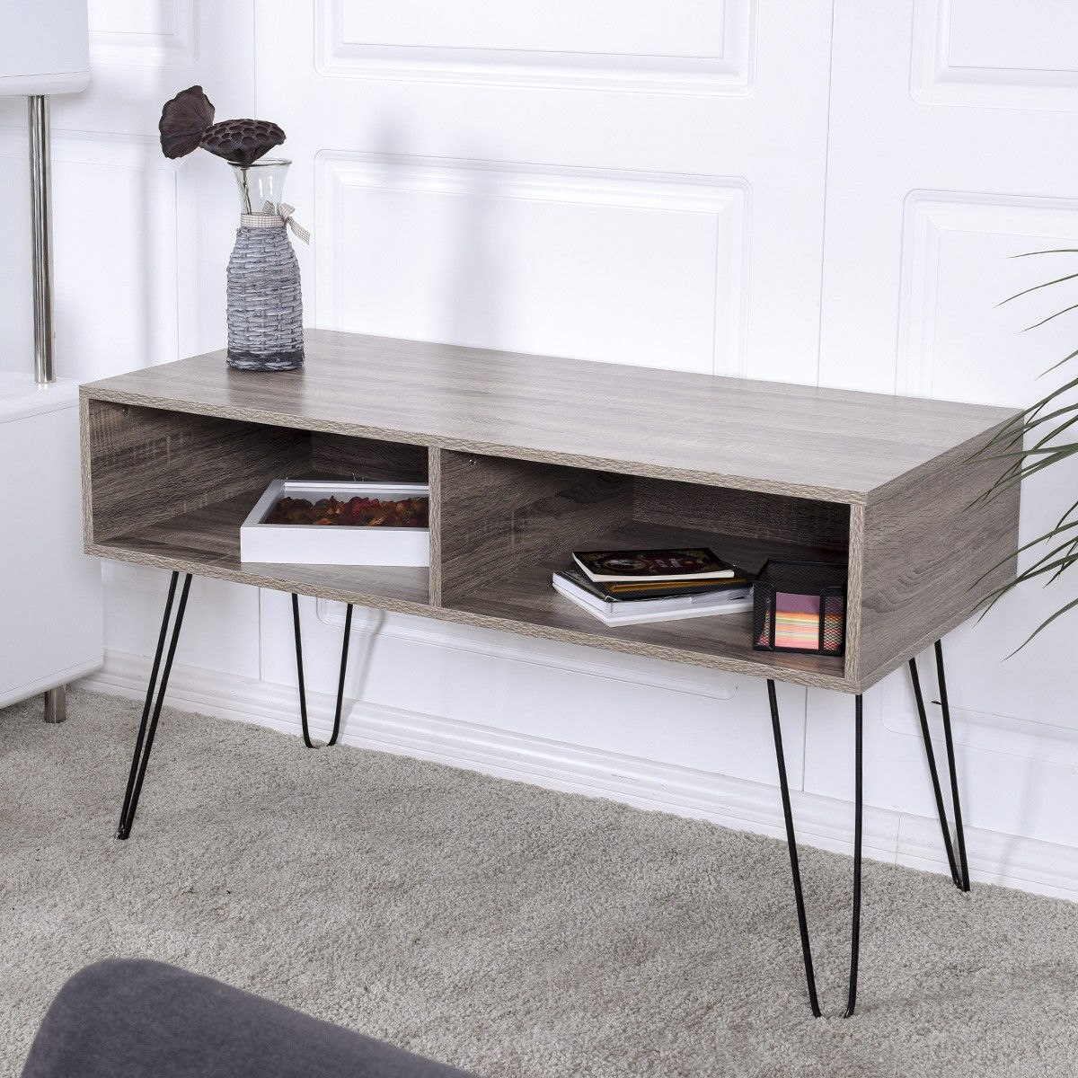 Giantex Modern Tv Stand Wood Media Console Table Entertainment With Metal Hairpin Legs Tvs Up To 42 Home Furniture Hw56640 In Living Room Cabinets From
