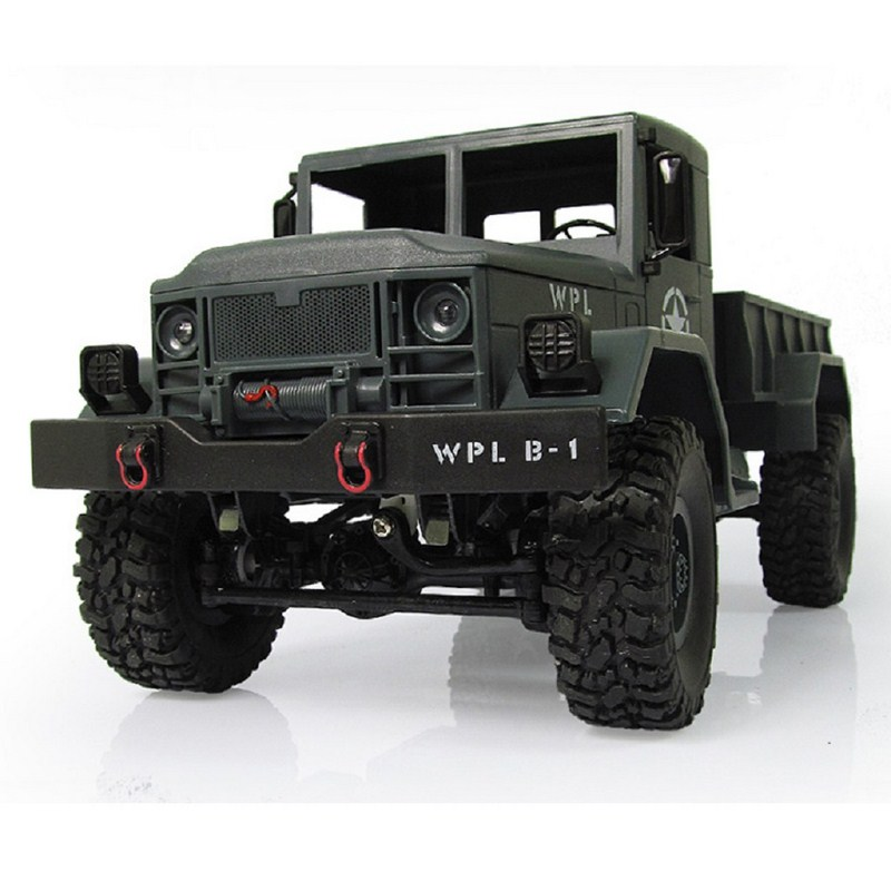 WPL B-14 RC Truck Remote Control Four-Wheel Drive Climbing Car Off-Road Vehicle Toy Vehicle 2.4GH 4 Channel with Army Car Shape