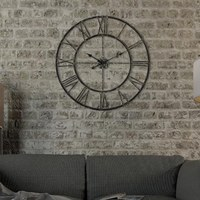 New 3D Circular Retro Roman Wrought Hollow Iron Vintage Large Mute Decorative Wall Clock On The Wall Decoration For Home