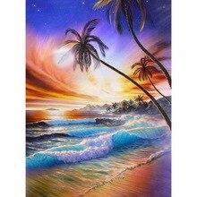 5D DIY Diamond Painting Beautiful beach scenery Embroidery Full circular  Cross Stitch Rhinestone Mosaic decor