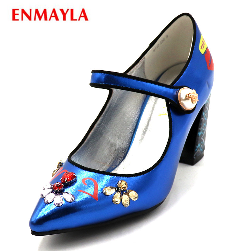 ENMAYLA Big Size Women Shoes Pointed Toe Pumps Crystal High Heels Pumps Slip-on Ladies Flower Dress Shoes Woman Fixed Color plus big size 34 47 shoes woman 2017 new arrival wedding ladies high heel fashion sweet dress pointed toe women pumps a 3