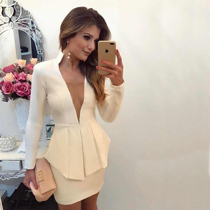 c82f41bbb1f28 Women Elegant Blazer Dresses Office Lady Sexy Wear To Work Suit Dress Smart  Casual Long Sleeve V Neck Autumn Dress