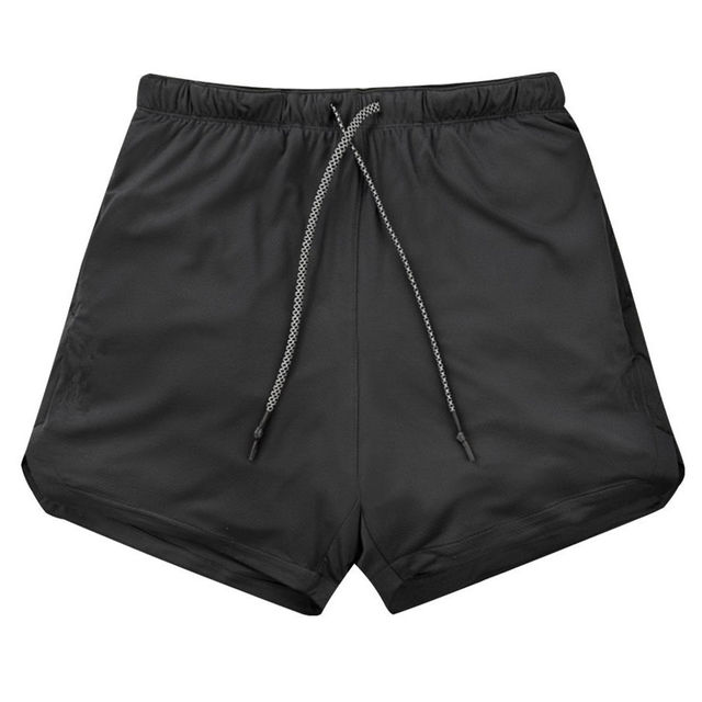 Joggers Shorts Mens 2 in 1 Short Pants Gyms Fitness   4