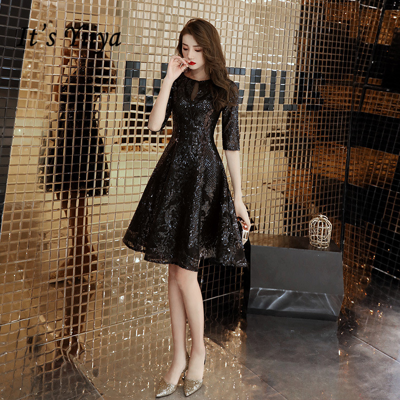It's YiiYa Cocktail Dress Little Black Shining Sequins Half Sleeve Short Formal Dresses Elegant Zipper Party Ball Gown E011